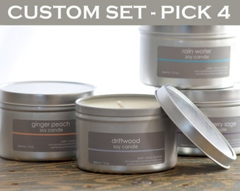 Candle Set - Soy Candles - Pick any 4 scents - 8 oz. tins - candle gift - fresh scent candle - food scent candle - holiday candles