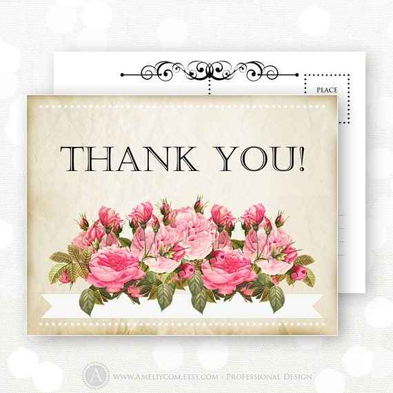Printable Thank You Card INSTANT DOWNLOAD Retro Rustic