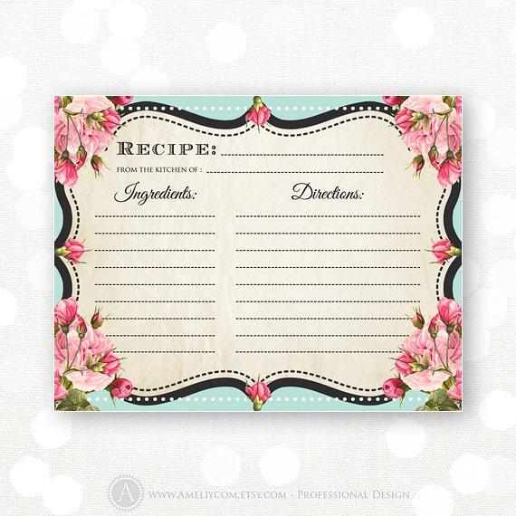 Printable Recipe Cards Chalkboard Teal & Pink Rose Bridal