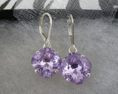 Large Cushion Cut Drop Earrings - Violet