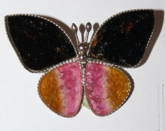 Tourmaline Brooch, Butterfly Brooch, FREE SHIPPING