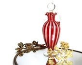 Midcentury Latticino Cased Glass Decanter Cruet Venetian Style Ribbed & Ruffled Art Glass Housewares Collectibles Bath and Beauty - Curiopolis