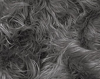 "Mongolian Faux Fur Fabric 58"" Charcoal Grey Fabric by the Yard- 1 Yard"