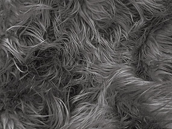 """Mongolian Faux Fur Fabric 58"""" Charcoal Grey Fabric by the Yard- 1 Yard"""