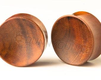 "7/8"" Pair Orange Indonesian Mahogany Concave Plugs Organic Hand Carved  Wood Body Piercing Jewelry Gauge Earrings"