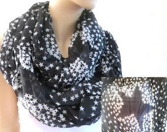 Star Infinity Scarf, Black Star Scarf, Stars in White and Black, Star Scarfs, Women Scarfs, Print Scarf