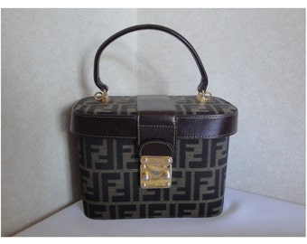 Vintage FENDI pecan stripe vanity purse with leather trimmings. A rare Fendi zucca vintage
