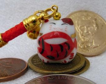 Maneki Neko Lucky Beckoning Cat Porcelain Phone/Handbag Charm with Red Braided Strap/Lanyard and Bell. Red Plenty Fish