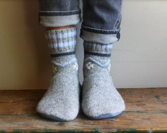Women's Felted Wool Slippers/Cottage Socks with Leather Sole,