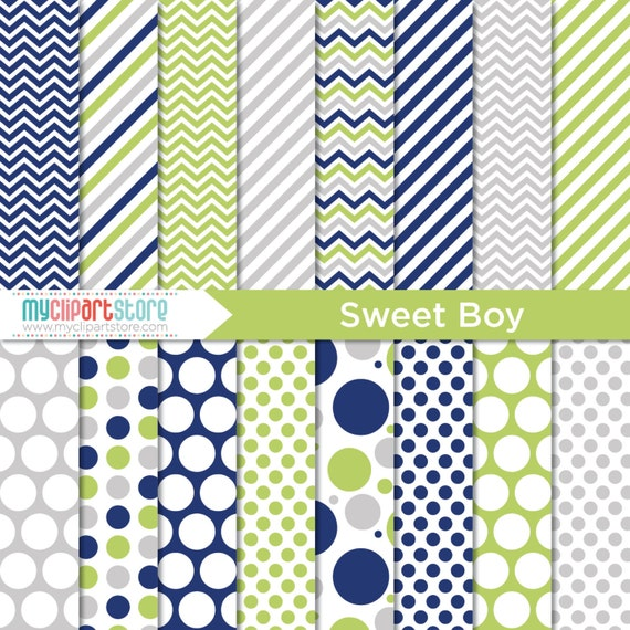 Digital Paper Sweet Boy Navy Blue Lime Green Birthday Boy
