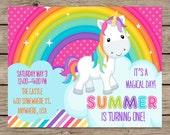 Rainbow Unicorn Invitation, Unicorn Birthday Invitation, First Birthday, Rainbow Unicorn Party, Unicorn Birthday Party PRINTABLE / PRINTED