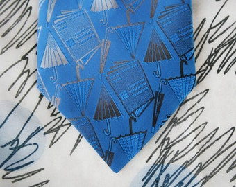 Vintage Umbrella Tie by Wembley, Blue, 1970s, 70s