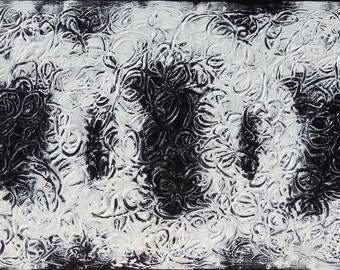 Large Original Abstract Acrylic Painting on Canvas, Heavily Textured Wall Art, Titled:  Black and White, 24 x 48