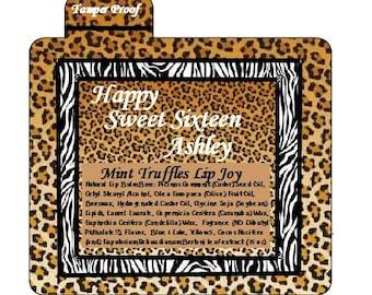 Lip Balm Custom Labels Birthday leopard Shower Sweet 16 Personalize Bachelorette Wedding Party Bridal Shower Favor Pura Gioia