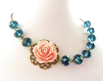Navy & Coral Wedding Jewelry, Navy and Coral Necklace, Navy Coral Bridesmaids Gift, Navy and Pink Bridal Flower Collar,  Pink Rose