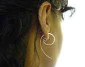 Sterling silver spiral hoop earring