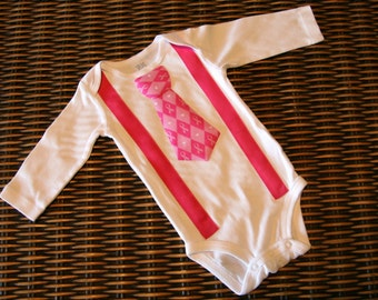 Breast Cancer Awareness Boys Necktie and Suspenders Onsie