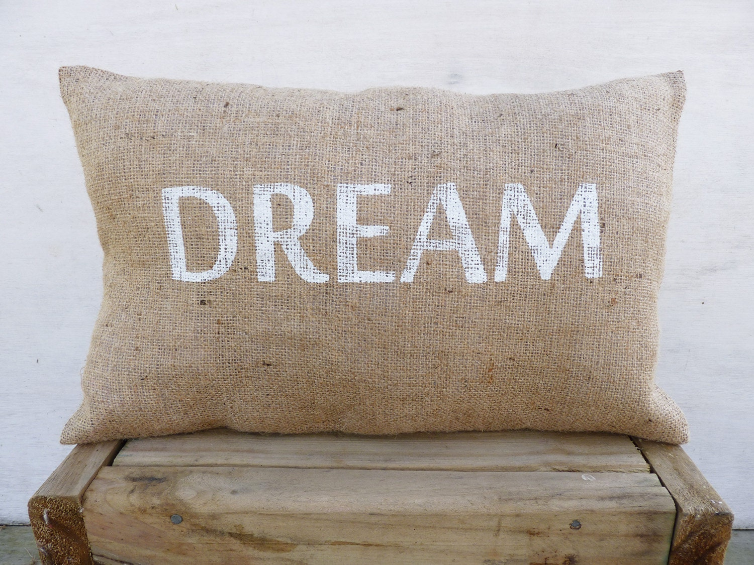 Throw Pillows With Letters On Them : DREAM Throw Pillow Cover Burlap throw pillows by TexturableDecor