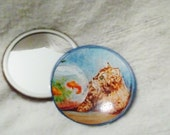 Pocket Mirror cat and fishbowl, featuring original art by Linda Maravich, charming handy little mirror in muslin pouch