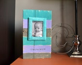 Teal, Purple, Gray Stripe Wood Block Picture Frame