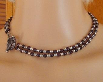 "Garnet & Tibetan Silver Gemstone Beaded 15-1/4""  Two Strand Necklace"
