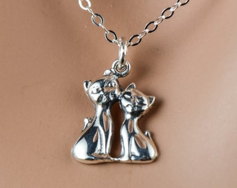 Two Cats  Necklace, All Sterling Silver, Dainty Love Friendship Family Personalized