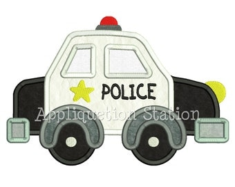 Cute Police Car Applique Machine Embroidery Design boy emergency vehicle sheriff INSTANT DOWNLOAD