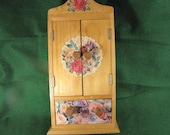 Vintage Handmade Doll Closet with Decoupage Applications