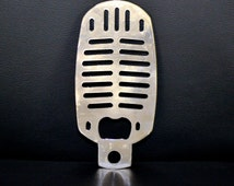 Microphone Metal Bottle Opener, Old Microphone, Rockabilly, Retro Singer, Custom Bottle Opener