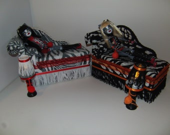 Furniture for Monster High Dolls 2 Handmade Chaise Lounge Beds for Purrsephone and Meowlody with Pillows Tables and Lamps