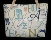 Womens Handbags - Small Tote Bag - Purses with leather handles - Alphabet - Handmade - Canvas Bags