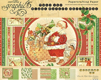 "Graphic 45  ""Twas the Night Before Christmas""  8 x 8 Paper Cardstock Collection"