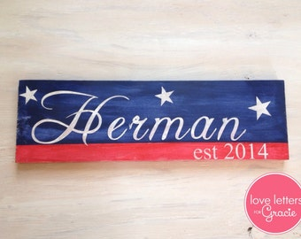 Custom painted established sign Red White & Blue - Patriotic Home Decor - Last Name Sign - Americana Sign