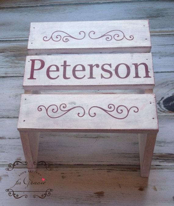 Custom Painted Step Stool Last Name Stool Decorative