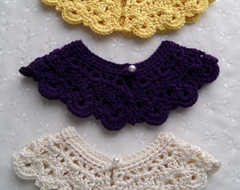 Luscious Purple, Lemon Yellow, or Beautiful Antique White Toddler Hand Crochet Peter Pan Collar, Detachable Handmade Collar