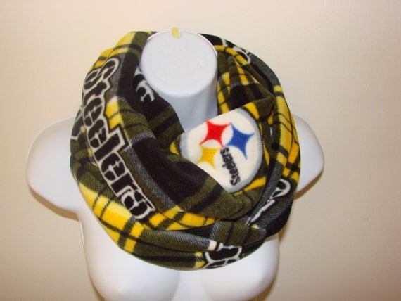 Pittsburgh Steelers Infinity Scarf Nfl Black Gold White Fleece