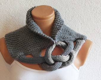 Braided Cowl, Scarflette, Neckwarmer, Gray Infinity Scarf Knitted Chunky Scarf, Woman Accessory, Gift For Her, Knit Chain Cowl, Cozy