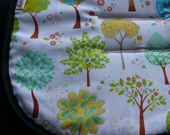 Reversible Pram and Stroller liner- White with Trees