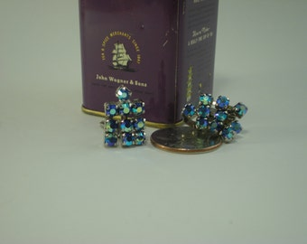 Vintage Clip on Sparkly Iridescent Earrings