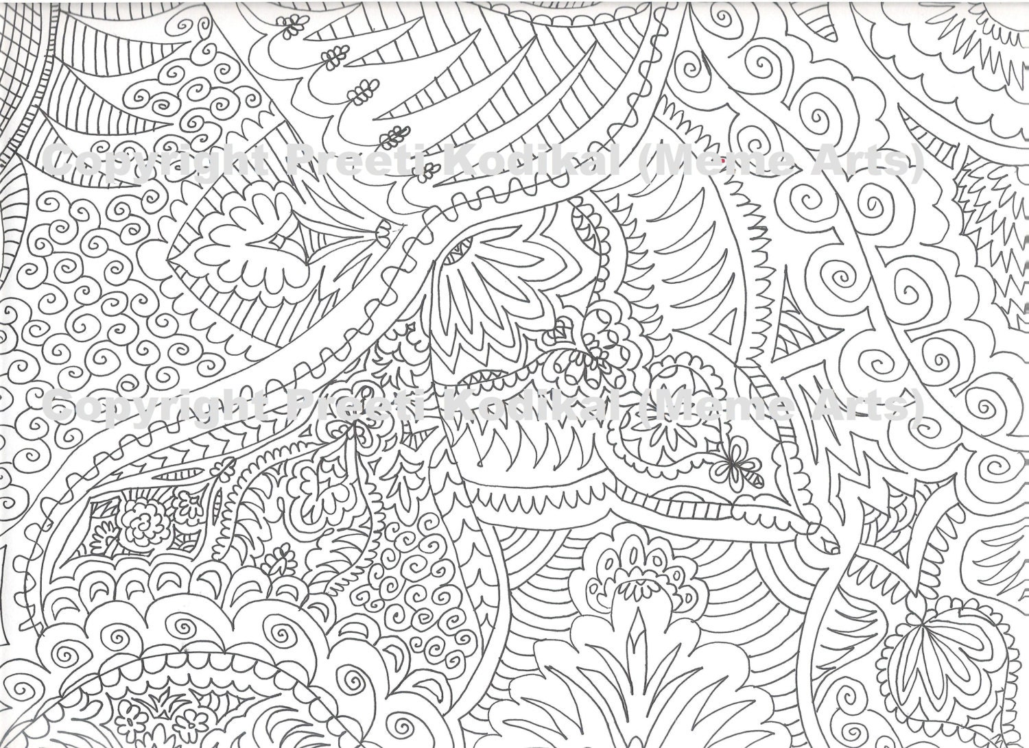 Zentangle coloring pages printable - Printable Coloring Pages Zentangle Items Similar To Pen Illustration Printable Coloring Page Zentangle