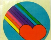 Heart and rainbow sticker, vintage 1980's