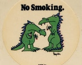"Boynton ""No Smoking"" dragons vintage sticker, 1980's"