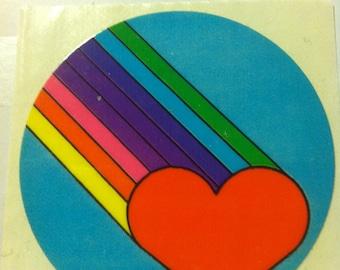 Heart and rainbow sticker, vintage 1980's