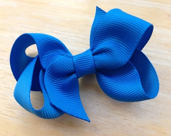 Aegean blue hair bow - 3 inch blue bow