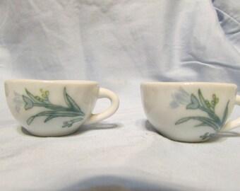 five miniature china tea cups,light periwinkle flower