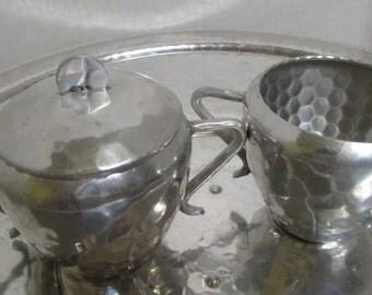 Vintage Hammered aluminum cream and sugar World hand forged