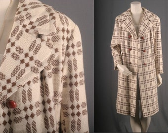 Cream Brown Jacket double breasted checks checkered winter coat blazer maxi womens size  M medium