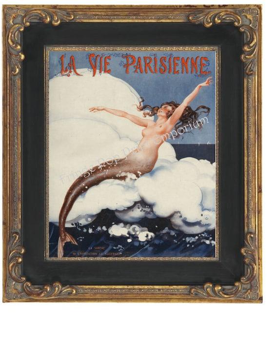 paris mermaid parisienne art print 8 x 10 nautical mermaid. Black Bedroom Furniture Sets. Home Design Ideas