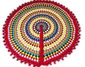 Crochet Christmas tree skirt, granny square mandala Christmas tree skirt, Victorian red border, READY TO SHIP