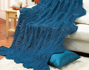 Crocheted afghan -- hexagon granny square swirls, teal, white, purple or you choose color, MADE TO ORDER